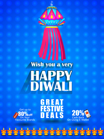 Hanging Lamp on Happy Diwali night celebrating holiday of India with festive deal background. Vector illustration Illustration