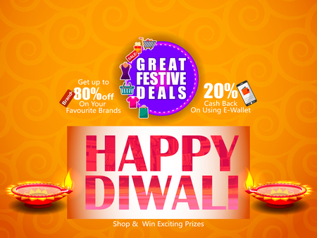 religious event: Decorated Diya on Happy Diwali night celebrating holiday of India with festive deal background