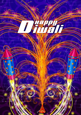 Colorful Firecracker on Happy Diwali night celebrating holiday of India. Vector illustration. Illustration