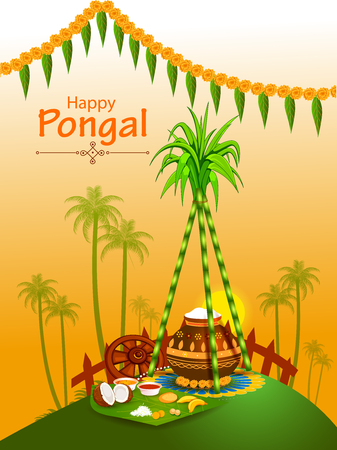 Happy Pongal holiday festival celebration background Stock Vector - 90150060