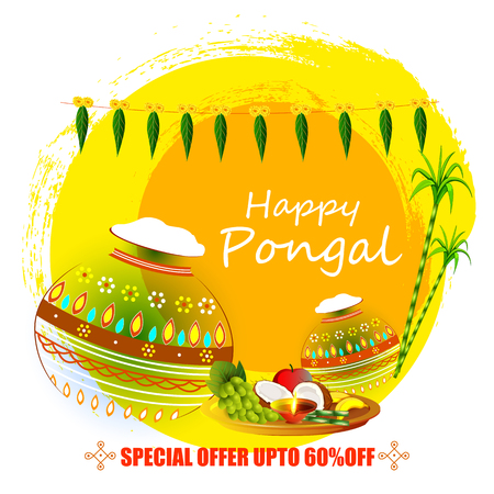 vector illustration of Happy Pongal holiday festival celebration background