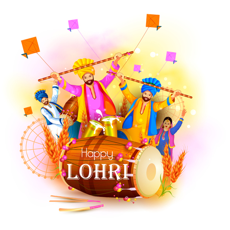Happy Lohri holiday festival of Punjab India Vector illustration.