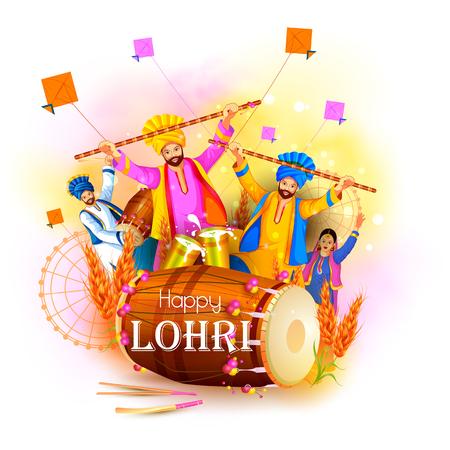 Happy Lohri holiday festival of Punjab India Vector illustration.