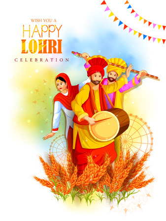 Happy Lohri holiday festival of Punjab India. Illustration