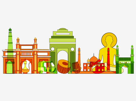 Famous monument of India on tricolor Indian background