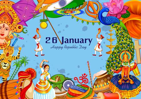 26 de janeiro Dia da república feliz da Índia Ilustración de vector