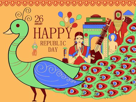 Illustration of 26 January Republic Day of India background.