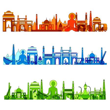 Illustration of famous monument of India in different colors.