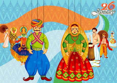26 januari Happy Republic Day of India achtergrond