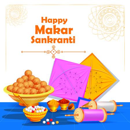 Happy Makar Sankranti holiday India festival background Stock Vector - 92166313