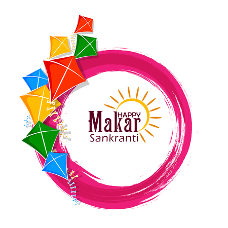 vector illustration of Happy Makar Sankranti holiday India festival background Vectores