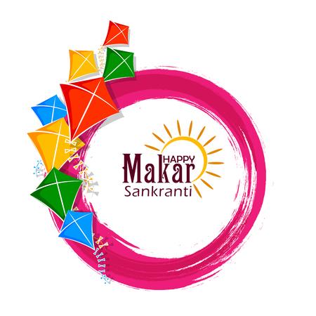 vector illustration of Happy Makar Sankranti holiday India festival background Vectores