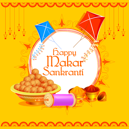 vector illustration of Happy Makar Sankranti holiday India festival background Illustration