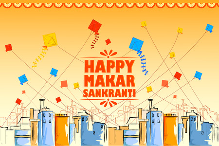 vector illustration of Happy Makar Sankranti holiday India festival background Stock Vector - 92166449