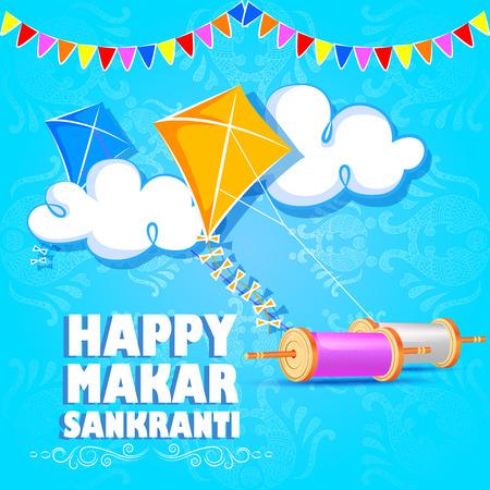 vector illustration of Happy Makar Sankranti holiday India festival background Stock Vector - 92166452