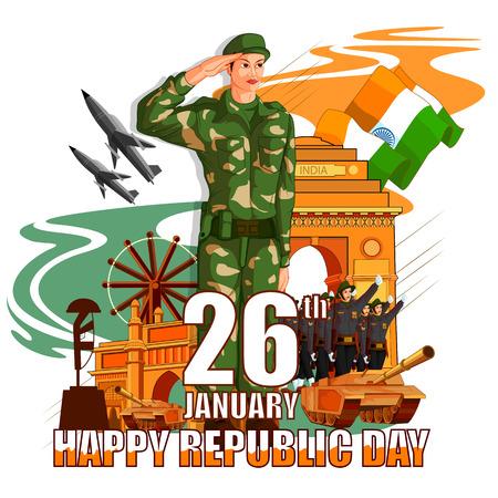 illustration vectorielle d'armée indienne avec drapeau pour le jour de la République heureux de l'Inde Vecteurs
