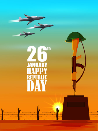 Vector illustration of airplane flying on 26 January Republic Day of India