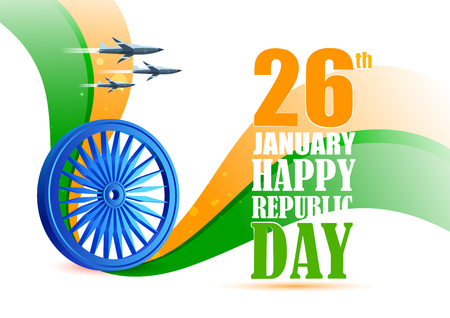 Vector illustration of airplane flying over Ashoka Chakra on tricolor design for 26th January Happy Republic Day of India Illustration