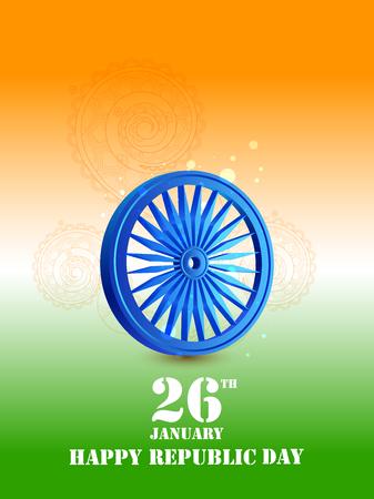 Vector illustration of Ashoka Chakra wheel on tricolor design for 26 January Republic Day of India Illustration