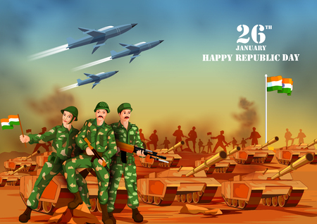 Indian army with flag for Happy Republic Day of India.