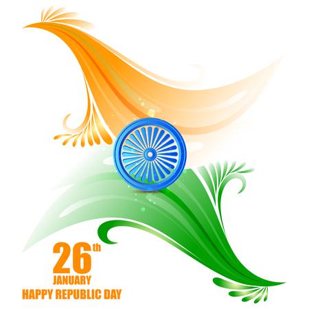 インド共和国記念日26日のトリコロールデザインにアショカチャクラホイールのベクトルイラスト  イラスト・ベクター素材