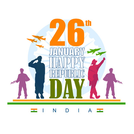 Vector illustration of Indian army with flag for Happy Republic Day of India Ilustração