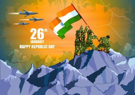 Indian army with flag for Happy Republic Day of India Ilustração