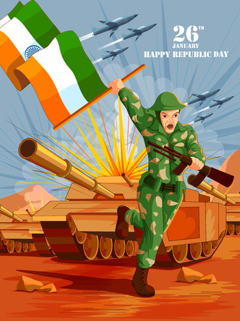 Indian army with flag for Happy Republic Day of India vector illustration