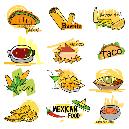 Mexican cuisine delicious food and starter Illustration