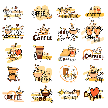 Coffee label tag sticker for Advertisement Illustration