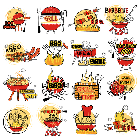 vector illustration of Barbecue and Grill label tag sticker for Advertisement Stock Vector - 93207480