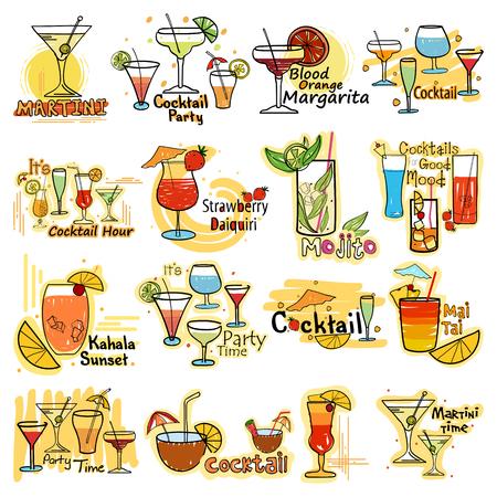 광고를위한 상쾌한 칵테일 라벨 태그 스티커