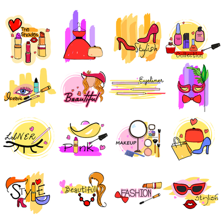 Beauty and Fashion Makeup Cosmetics label tag sticker for Advertisement