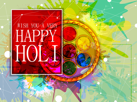 vector illustration of India Festival of Color Happy Holi background 矢量图像