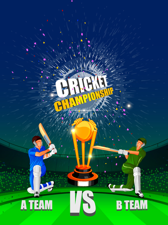 Vector illustration of Cricket Championship Tournament with two players. Çizim
