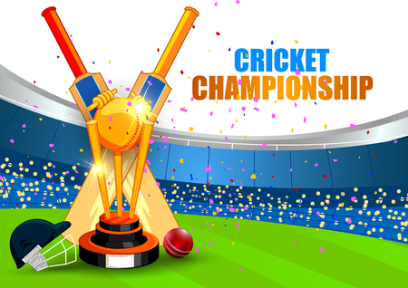 Cricket Championship Tournament poster with equipment design.