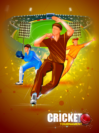 Sports background for the match of Cricket Championship Tournament Çizim