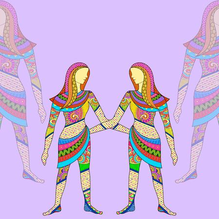 vector illustration of Gemini Astrological Zodiac Sign