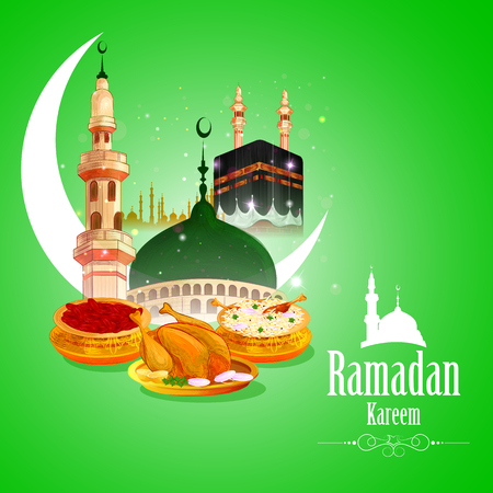 vector illustration of Ramadan Kareem Greetings for Ramadan background with Iftar Food and Drink Illustration