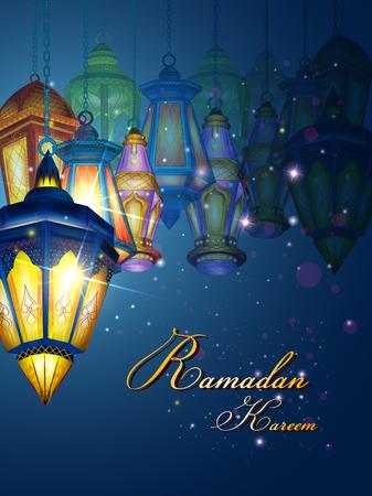 vector illustration of illuminated lamp for Ramadan Kareem Greetings for Ramadan background Illustration