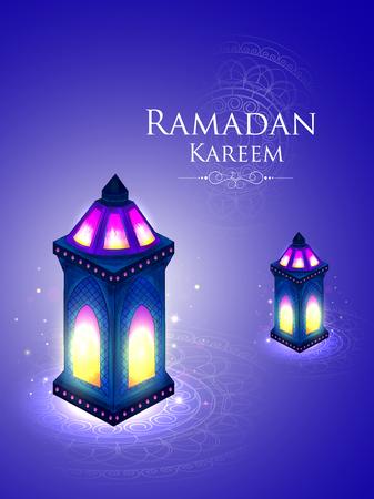 vector illustration of illuminated lamp for Ramadan Kareem Greetings for Ramadan background 向量圖像