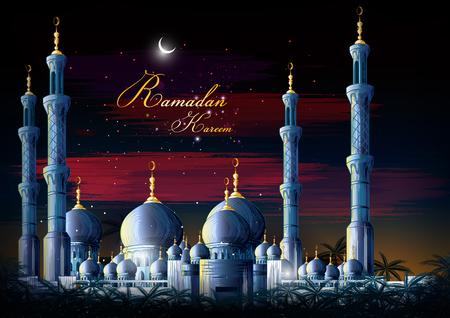 Ramadan Kareem Greetings for Ramadan background with Islamic Mosque