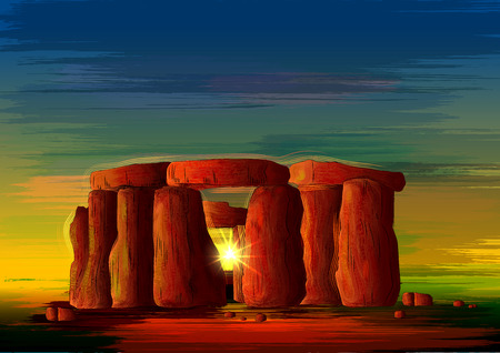 Stonehenge world famous historical monument of Wiltshire, England Stock Illustratie