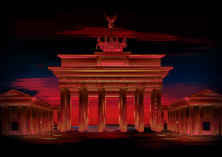 Brandenburg Gate world famous historical monument of Berlin, Germany Vettoriali