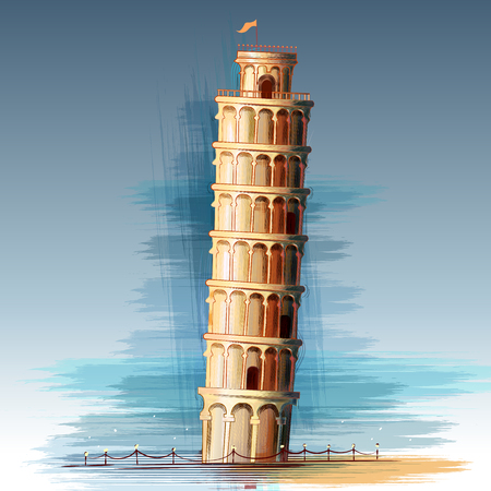Leaning Tower of Pisa world famous historical monument of Italy Illustration