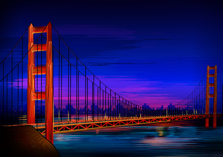 Golden Gate Bridge world famous historical monument of San Francisco Illustration
