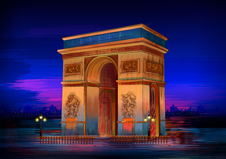 Arc De Triomphe world famous historical monument of Paris  イラスト・ベクター素材