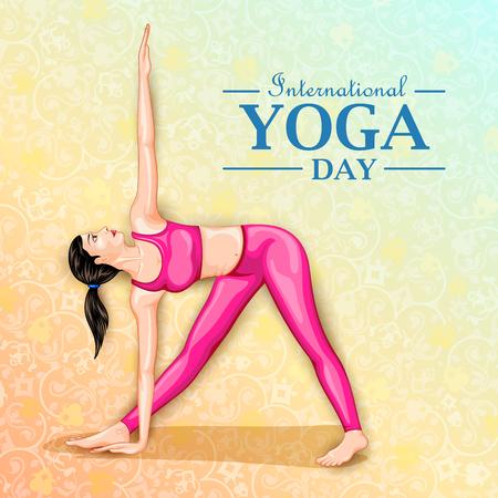Illustration of woman doing yoga pose on poster design for celebrating International Yoga Day