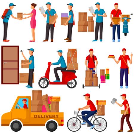Mensajero, entrega, hombre de paquetería que entrega el producto a casa