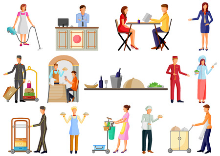 Personal de la industria de servicios de hoteles y restaurantes, chef, camarero y recipcionista Ilustración de vector